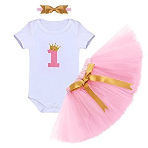 Baby Girl It's My 1st Birthday 3Pcs Outfits Skirt Set Romper+Tutu Dress+Headband Cake Smash Crown Bodysuit Clothes Jumpsuit #2 Pink One Size