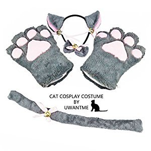 Cat Cosplay Costume Kitten Tail Ears Collar Paws Gloves Anime Lolita Gothic Set (GRAY)