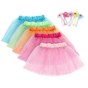 Girls Tutu Skirt Set fedio 5Pcs Kids Princess Ballet Tutu Dress Costume with 5Pcs Flower Hair Ties for Girls age 3-8yrs