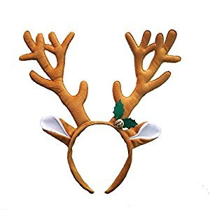 Christmas Elk Reindeer Antler Headband Decoration Party Hairbands Gifts, Masquerade Hair Accessory (Brown)