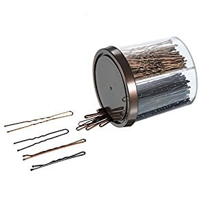 eBoot 200 Pieces Bobby Pins and U Pins Hair Clips with an Opening Jar, Bronze and Black
