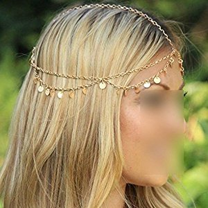 Fashion Bohemian Circle Sequins Chain Jewelry Forehead Hair Band Clasp Hairpin