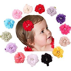 Lovinglove Baby Hair Accessories Chiffon Flower Rhinestone Buckle Hair Clips ...