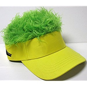 The Original Flair Hair Visor, Yellow Visor, Green Hair
