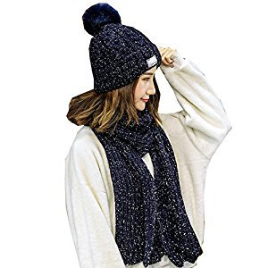 2-Pieces Winter Hat Scarf Set, Warm Knit Beanie Hat and Scarf for Girls and Women (Blue)