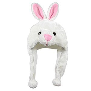 Bioterti Plush Fun Animal Hats –One Size Cap - 100% Polyester With Fleece Lining (White Bunny)