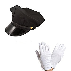 Chauffeur Cap Limo Taxi Driver Hat and White Gloves Fancy Dress Kit by Blue Planet Online