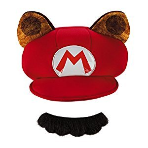 Disguise Mario Raccoon Child Hat and Moustache One Size