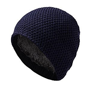 EDTara Mens Knitting Hats Soft Winter Warm Thickened Knit Cap Beanie Hat Skull Cap Dark Blue