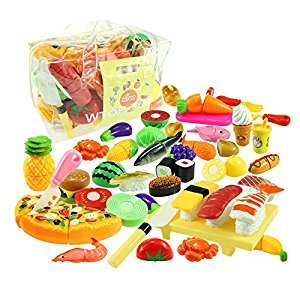 WTOR 39PCS Pretend Play Food Toys Kitchen Toy Cutting Food Fruits Vegetables Toy Play Set for Kids Girls Boys - Cutting Toys Food Educational Early Age Basic Skills Development Learning Toys