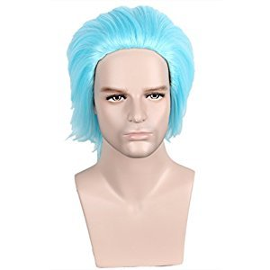 Linfairy Halloween Cosplay Wig Short Blue Heat Resistant Synthetic Wig for Men