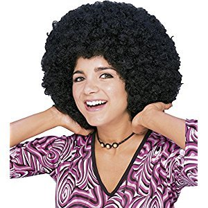 Rubie's Costume Humor Mid Length Afro Black Wig, Black, One Size