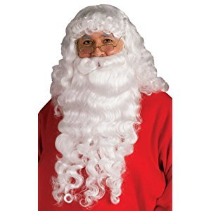 Rubies Costume Santa Beard and Wig Set, White, One Size