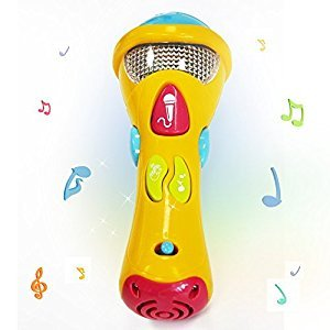 Kids Music Karaoke Microphone Toys - Wishtime Toddler Singing Karaoke Microphone for Recorder with Music and Light(color may vary)