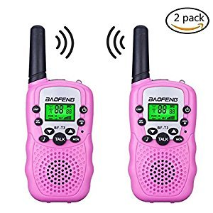 Kids Walkie Talkies,fiveaccy 22 Channel Walkie Talkies 2 Way Radio 3-5 KM FRS/GMRS Handheld Mini Walkie Talkies Holiday Gifts for Outdoor Camping Hiking (Pink)