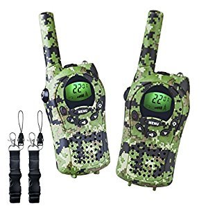OuterStar Walkie Talkies for Kids,22 Channel FRS/GMRS 5 Miles Long Range Two Way Radios with 2 Free Straps,Back-lit LCD Screen/Handheld for Kids/Families Toys, Games, Gifts (Green Camouflage)