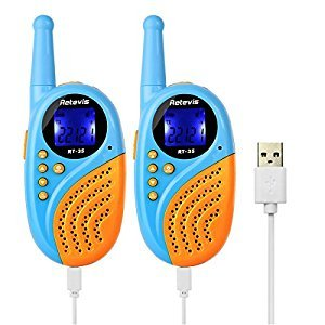 Retevis RT-35 Kids Walkie Talkies Rechargeable FRS License-free 2 Way Radio for Children with Alarm Clock VOX Flashlight Function (Blue and Orange, 1 Pair)