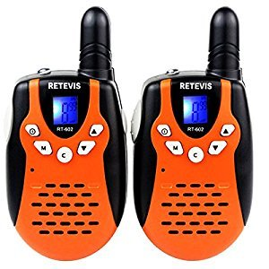 Retevis RT602 Kids Walkie Talkies Rechargeable2 Way Radios for Children 22CH FRS/GMRS License-free Handheld Radio with Flashlight (Orange,1 Pair)