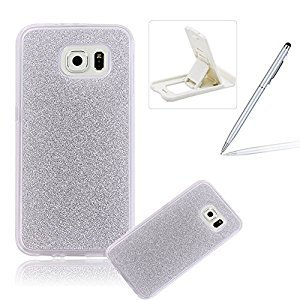 Cover for Samsung Galaxy S6 Edge Plus,Rubber Case for Samsung Galaxy S6 Edge Plus,Herzzer Super Slim [Silver Gradient Color Changing] Dust Resistant Soft Flexible TPU Bling Glitter Protective Case