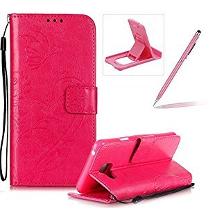 Strap Case for Samsung Galaxy A310 2016,Wallet Leather Cover for Samsung Galaxy A310 2016,Herzzer Classic Elegant [Hot Pink Butterfly Pattern] PU Leather Fold Stand Card Holders Smart Phone Case for Samsung Galaxy A310 2016 + 1 x Free Pink Cellphone Kickst