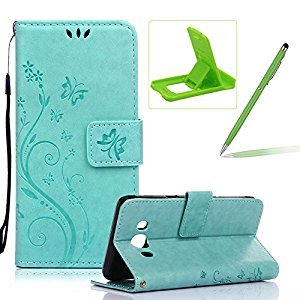 Wallet Leather Case for Galaxy J5 2016,Book Style Pu Leather Case for Galaxy J5 2016,Herzzer Retro Light Green Butterfly Flower Pattern Flip Fold Pouch Case with Card Holders Stand Magnetic Case