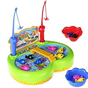 Electronic Magnetic Fishing Game with Rotating Fish Early Development Toy for Kids 3 4 5 6 Years Old