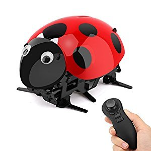 Intelligent Ladybug Robot, Zooawa Wireless Remote Control Electronic Toy RC Bionic Insect Digital Pet with Rechareable Battery for Kids over 7 Years Old - Black + Red