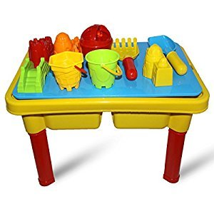 M.C Kids Sand and Water Toy Play Beach-Fun Table 2 in 1 With Lid And 9 Accesories (Small Pieces Of Toys Sent Random)
