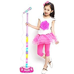 Fashionwu Adjustable Cool Music Microphone Toy, Connect Mobile Phone Kids Karaoke Stand Microphone Toys