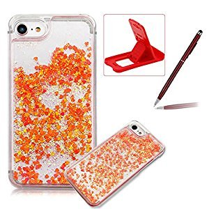 Liquid Case for iPhone 6S,Herzzer Luxury Back Cover for iPhone 6,Creative Dynamic [Watermelon Red Love Heart] Glitter Quicksand Sparkle Flowing Liquid Floating Bling Shiny Transparent Hard Case