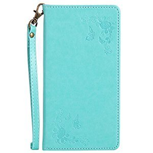 Lomogo [Flower Embossing] Galaxy S8 Plus (S8+) Leather Wallet Case with Kickstand Credit Card Holder Magnetic Closure Shockproof Flip Case Cover for Samsung Galaxy S8 Plus (S8+) (Green)
