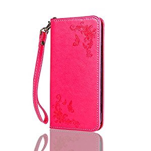 Lomogo [Flower Embossing] Huawei G8 / GX8 Leather Wallet Case with Kickstand Credit Card Holder Magnetic Closure Shockproof Flip Case Cover for Huawei G8 / GX8 (Red)