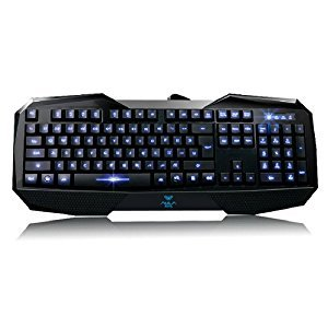 AULA LED Illuminated Ergonomic USB Multimedia Backlight Backlit Gaming Keyboard (Blue)(SI-859)