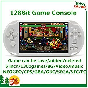 CZT 5 inch Screen 8GB 128Bit Retro Video Games Console Built-in 1300 Games for Arcade NEOGEO/CPS FC/NES,SFC/SNES/GB/GBC/GBA/SMC/SMD/SEGA Handheld Game Console MP3/4 (White)