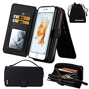 iPhone 6s Plus / iPhone 6 Plus Case, DRUnKQUEEn® Premium Zipper Wallet Leather Detachable Magnetic Case Purse Clutch with Black Flip Credit Card Holder Cover for iPhone 6Plus iPhone 6sPlus (5.5