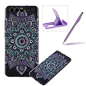 TPU Case for Huawei P10,Clear Case for Huawei P10,Herzzer Ultra Slim Stylish [Purple Flower Pattern] Soft Silicone Gel Bumper Cover Flexible Crystal Transparent Skin Protective Case for Huawei P10 + 1 x Free Purple Cellphone Kickstand + 1 x Free Purple Sty