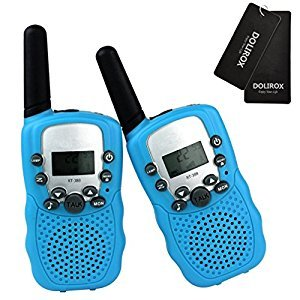 DOLIROX® Kids Children Mini Hand Held Walkie Talkie Set Wireless 2-Way Radio Intercom Interphone with LCD Display and LED Flashing Light pack of 2 (Blue)