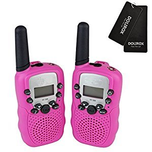 DOLIROX Kids Mini Hand Held Walkie Talkie Set Wireless 2-Way Radio Intercom with LCD Display and LED Flashing Light pack of 2 (Pink)