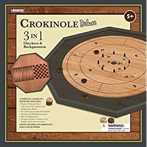 Kroeger Crokinole 3 in 1 Deluxe Wooden Board Set