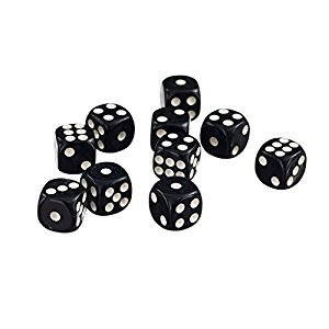 50 x 12mm Opaque Six Sided Spot Dice Games D6 D&D RPG Black
