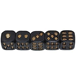 Black Skull Dice Skull Deluxe Devil Dice Gothic Gambling Dice Wooden Dice For Gaming ,Party, Bar, Entertainment,Decoration, Collectibles (5 Pcs)