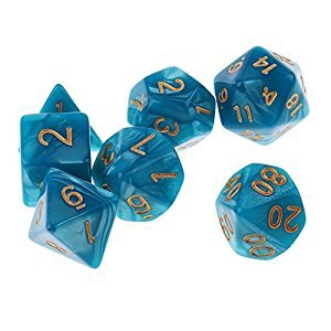 Fenteer Set/7PCS Acrylic Board Game Dices Toy Polyhedral Dice 16mm for Dungeons and Dragons Dice RPG Blue Green