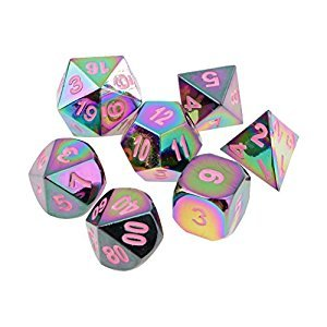 Homyl Pack of 7 Metal Rainbow Polyhedral Dice Die Pink Number for Dungeons and Dragons Games Supplies