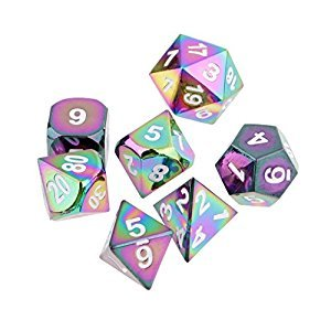 Homyl Pack of 7 Metal Rainbow Polyhedral Dice Die White Number for Dungeons and Dragons Games Supplies