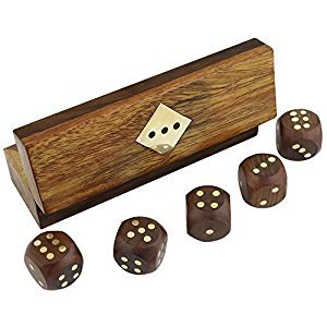 Indian Handcrafted Wooden Game Dice Set Storage Box Brass Inlay Art - Large Decorative Wooden Dice 5