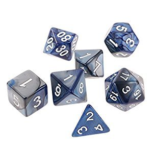Jili Online 7PCS Polyhedral Dice Double-Colors Dice for Dungeons and Dragons DND D20 D12 D10 D8 D6 D4 16mm Playing Game Dice Blue Silver