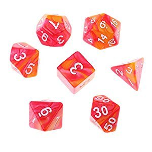 MagiDeal 7PCS Polyhedral Dice Party Games Toy for Dungeons and Dragons Casino Supply 1.6cm Red Orange