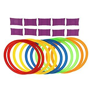 MonkeyJack 29.5cm Diameter 10 Rings & 10 Ring Clips Twister Hopscotch Multi-colored Active Play Intelligence Games