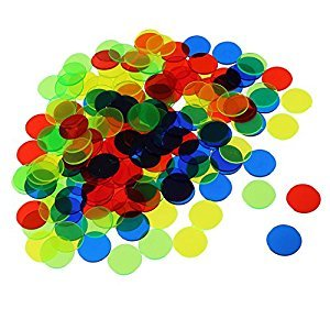 MagiDeal 100pc Translucent Bingo Chips 3/4 Inch Poker Chips for Bingo Poker Board Game Cards Casino Accessory Mixed Color