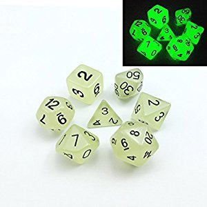 Set of 7 Glow in the Dark Polyhedral Dice (7 Die in Set) | Role Playing Game Dice | D4, D6, D8, D10, D%, D12, and D20 (Aqua)